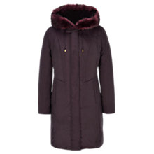 Buy Viyella Faux Fur Trim Coat, Mulberry Online at johnlewis.com