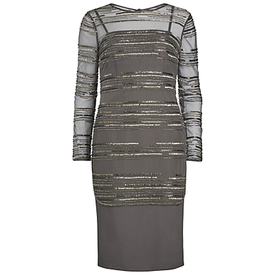 Gina Bacconi Ponti Dress With Beaded Over Top, Pewter