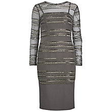 Buy Gina Bacconi Ponti Dress With Beaded Over Top, Pewter Online at johnlewis.com