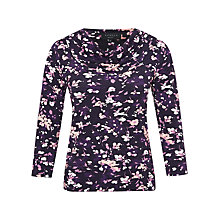 Buy Viyella Petite Flower Print Jersey Top, Purple Online at johnlewis.com