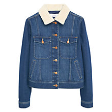 Buy Mango Wool Collar Dark Denim Jacket, Open Blue Online at johnlewis.com