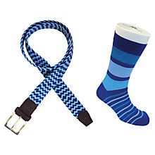Buy TYLER & TYLER Woven Belt and Sock Set, Blue Online at johnlewis.com