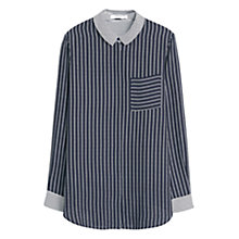 Buy Mango Contrast Striped Blouse, Navy Online at johnlewis.com