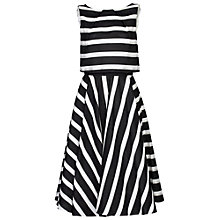 Buy Jolie Moi Stripe Jacquard Overlay Dress, Black Online at johnlewis.com