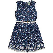 Buy Yumi Girl Ditsy Floral Broiderie Dress, Navy Online at johnlewis.com