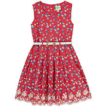 Buy Yumi Girl Ditsy Floral Broderie Dress, Red Online at johnlewis.com