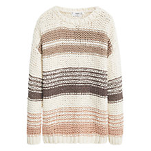 Buy Mango Striped Chunky Knit Jumper, Light Beige Online at johnlewis.com