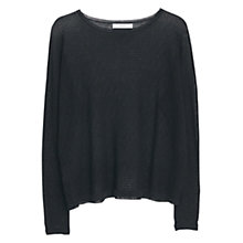 Buy Mango Cotton Blend Textured Jumper, Black Online at johnlewis.com