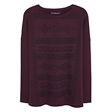 Buy Violeta by Mango Embroidered Sweatshirt, Dark Red Online at johnlewis.com