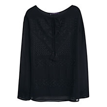 Buy Violeta by Mango Embroidered Blouse, Black Online at johnlewis.com