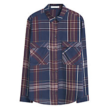 Buy Mango Check Shirt, Medium Blue Online at johnlewis.com