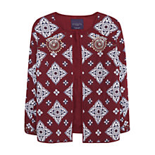 Buy Violeta by Mango Printed Bead Jacket, Dark Red Online at johnlewis.com
