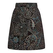 Buy Warehouse Boucle Paisley Print Skirt, Green Online at johnlewis.com