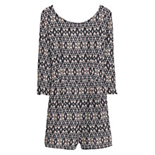 Buy Mango Printed Short Jumpsuit, Black/Multi Online at johnlewis.com