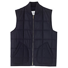 Buy Jigsaw Lambswool Padded Gilet, Navy Online at johnlewis.com