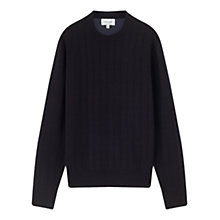 Buy Jigsaw Merino Wool Quilted Jumper, Navy Online at johnlewis.com