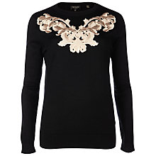 Buy Ted Baker Slinda Metallic Embroidered Jumper, Black Online at johnlewis.com