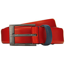 Buy Ted Baker Newbry Coloured Leather Belt, Red Online at johnlewis.com