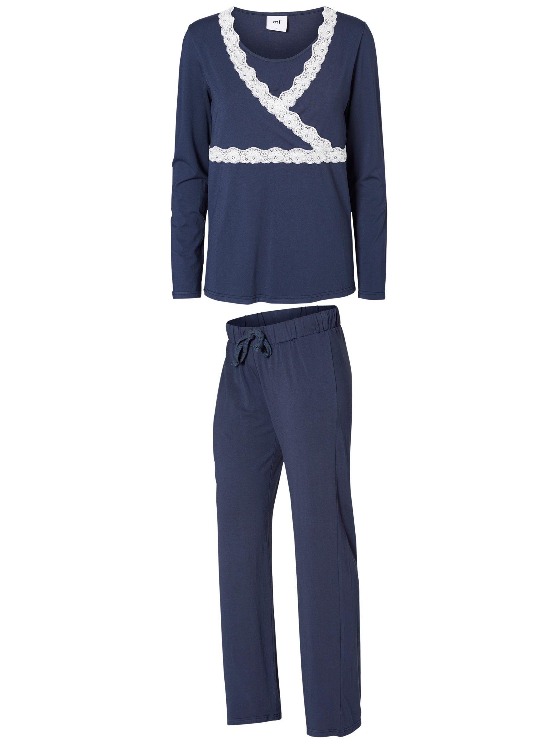 Mamalicious Mamalicious Thilde Tess Lace Maternity Nursing Pyjama Set, Black Iris