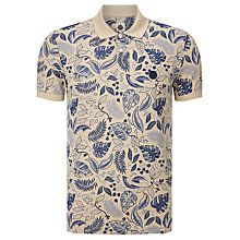 Buy Pretty Green Crawley Leaf Camo Polo Shirt, Blue/Stone Online at johnlewis.com