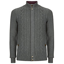 Buy Ted Baker Hofman Cable Knit Cardigan, Charcoal Online at johnlewis.com