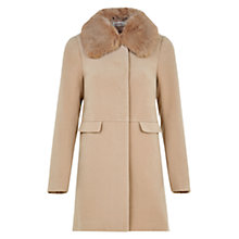 Buy Louche Rhonwen Detachable Faux Fur Collar Coat, Mink Online at johnlewis.com