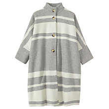 Buy Toast Striped Hem Poncho, Grey Marl/White Online at johnlewis.com