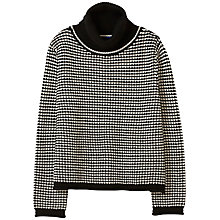 Buy Winser London Merino Wool Tweed Roll Neck Jumper, Black/Ivory Online at johnlewis.com
