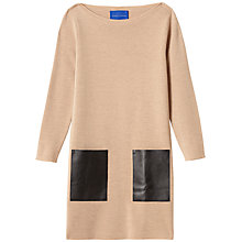 Buy Winser London Milano Wool Leather Pocket Dress, Camel/Black Online at johnlewis.com
