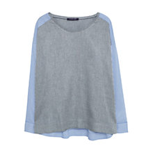 Buy Violeta by Mango Constrast Panels Blouse, Medium Grey Online at johnlewis.com