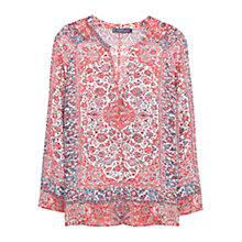 Buy Violeta by Mango Scarf Print Blouse, Dark Red Online at johnlewis.com