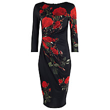 Buy Phase Eight Veronica Rose Dress, Black/Scarlet Online at johnlewis.com