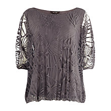 Buy Phase Eight Cecily Burnout Top, Charcoal Online at johnlewis.com