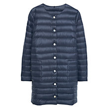 Buy Violeta by Mango Quilted Feather Long Coat, Navy Online at johnlewis.com