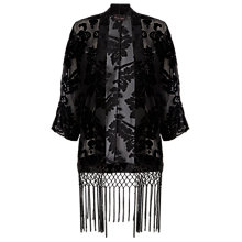 Buy Phase Eight Shivani Floral Devore Kimono, Black Online at johnlewis.com