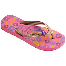 Buy Havaianas Children's Fun Kisses Slim Flip Flops, Pink Multi Online at johnlewis.com