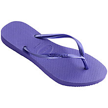 Buy Havaianas Children's Slim Metallic Flip Flops, Purple Online at johnlewis.com