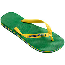 Buy Havaianas Children's Brasil Logo Flip Flops, Green Online at johnlewis.com