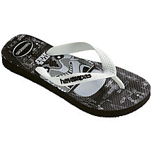 Buy Havaianas Children's Star Wars Toepost Flip Flops, Black/White Online at johnlewis.com