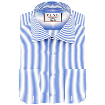 Image of Thomas Pink Grant Slim Fit Double Cuff Stripe Shirt