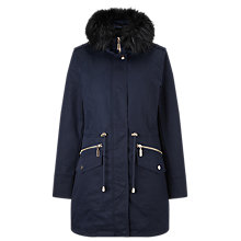 Buy Phase Eight Erika Faux Fur Trim Parka, Navy Online at johnlewis.com