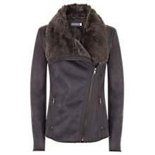 Buy Mint Velvet Suedette Faux Fur Collar Jacket, Granite Online at johnlewis.com