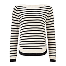 Buy East Stripe Cable Jumper, Black Online at johnlewis.com