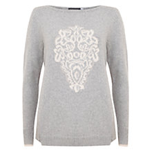 Buy Mint Velvet Intarsia Folk Jumper, Grey/Cream Online at johnlewis.com