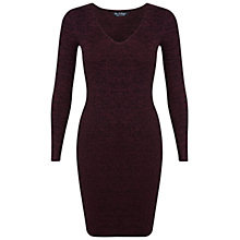 Buy Miss Selfridge Knitted Rib Dress, Burgundy Online at johnlewis.com