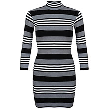 Buy Miss Selfridge Petites Bodycon Dress, Black Stripe Online at johnlewis.com