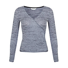Buy Miss Selfridge Wrap Top, Dark Grey Online at johnlewis.com