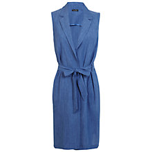 Buy Miss Selfridge Linen Belted Sleeveless Jacket, Mid Blue Online at johnlewis.com