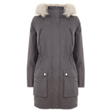 Buy Mint Velvet Faux Fur Hooded Parka, Granite Online at johnlewis.com