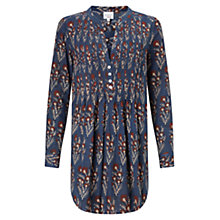 Buy East Salma Pintuck Tunic Shirt, Indigo Online at johnlewis.com